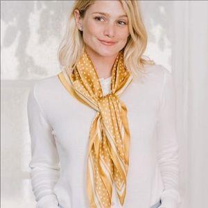 Cleobella golden yellow and white polka dot scarf